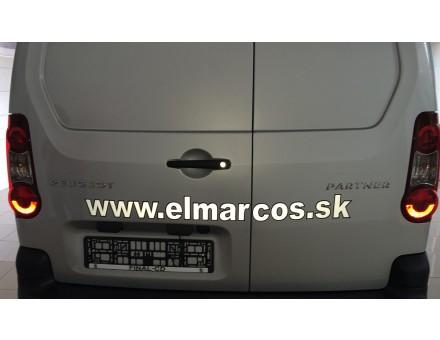 Polep automobilu Peugeot partner - rezaná reflexná fólia podlepená rezanou fóliou. Miesto polepu: Žilina